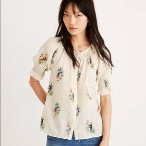 Madewell Floral Smocked Sleeve Button Up Top